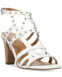 Franco Sarto Calesta Strappy Embellished Sandals Women's Shoes White