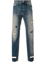 Off White Distressed Painted Straight Jeans Blue