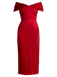 Emilio De La Morena Tamara Off The Shoulder Duchess Satin Dress Red