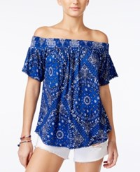 American Rag Printed Off The Shoulder Top Only At Macy's Blue