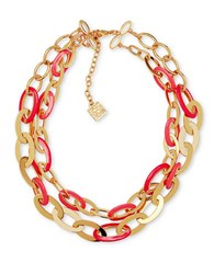 Anne Klein Dual Tone Chain Link Necklace Coral