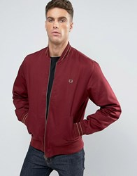 Fred Perry Bomber Jacket Tramline Tipped In Red Rosewood