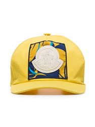 Moncler Yellow Logo Patch Embroidered Cotton Baseball Cap