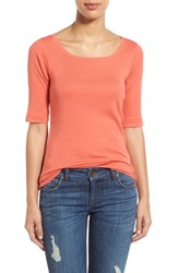 Caslonr Women's Caslon Ballet Neck Cotton And Modal Knit Elbow Sleeve Tee Coral Spice