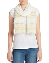 Dkny Pure Striped Cotton Scarf White
