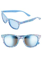 Lilly Pulitzer Maddie 52Mm Polarized Mirrored Sunglasses Fantasy Garden Aqua Fantasy Garden Aqua