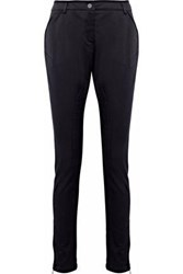 Red Valentino Grosgrain Trimmed Cotton Blend Twill Skinny Pants Black