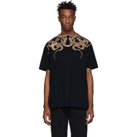 Marcelo Burlon County Of Milan Black And Gold Snakes T Shirt