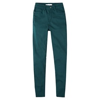 Mango Skinny Cotton Trousers Dark Green