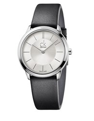 Calvin Klein Stainless Steel And Leather Watch K3m221c6 Silver
