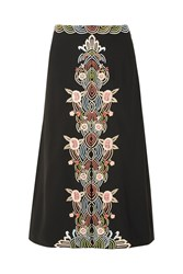 Vilshenko Jo Embroidered Crepe Skirt Black