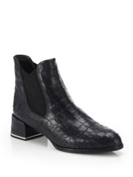 Stuart Weitzman Showme Crocodile Embossed Leather Booties Black