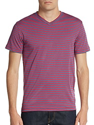 Saks Fifth Avenue Black Slim Fit Striped V Neck Cotton Tee