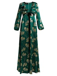 Rochas Floral Silk Blend Jacquard Gown Green Multi