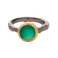 Carousel Jewels Green Onyx Gold And Silver Mix Ring