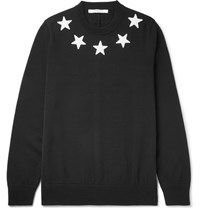 Givenchy Star Appliqued Cotton Sweater Black