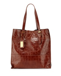 Badgley Mischka Liv Crocodile Embossed Tote Bag Espresso