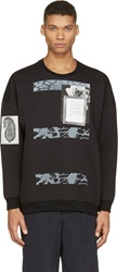 Miharayasuhiro Black And Grey Neoprene Mixed Patch Sweatshirt
