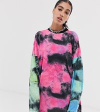 The Ragged Priest Long Sleeve T Shirt Dress In Mixed Tie Dye Pink