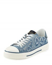 Valentino Butterfly Embroidered Denim Sneaker Light Denim