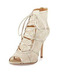 Badgley Mischka Sherry Lace Lace Up Bootie Ivory Nud