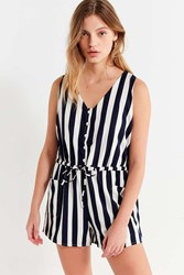 Lucca Couture Amber Striped Button Down Romper Blue Multi