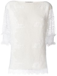 Ermanno Scervino Lace Sleeves Jumper White