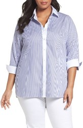 Foxcroft Plus Size Women's Mini Stripe Non Iron Tunic Shirt