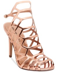 Madden Girl Directt Caged Sandals Women's Shoes Rose Gold