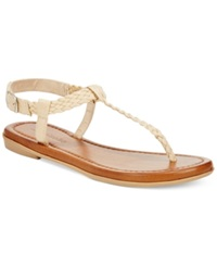 Zigi Soho Pina Braided T Strap Flat Sandals Women's Shoes Natural Fabric