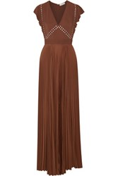 A.L.C. Mara Embellished Stretch Cady And Plisse Voile Maxi Dress Chocolate