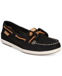 Sperry Women's Coil Ivy Boat Shoes Women's Shoes Black Perforated