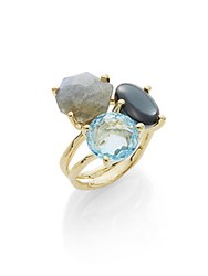 Ippolita Rock Candy Blue Topaz Clear Quartz Hematite Labradorite And 18K Yellow Gold Ring