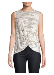Red Haute Camo Knot Front Tank Top Natural