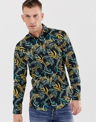 Selected Homme Slim Shirt With All Over Leaf Print Navy