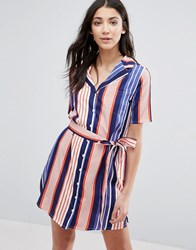 Influence Lapel Collar Striped Shirt Dress Navy Red Multi