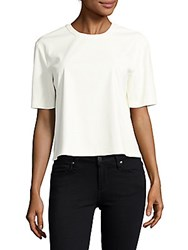 Bcbgmaxazria Micah Faux Leather Tee Off White