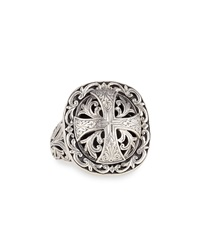 Sterling Silver Etched Cross Ring Konstantino