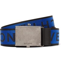 Givenchy 3.5Cm Leather Trimmed Logo Jacquard Webbing Belt Cobalt Blue