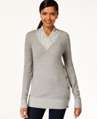 Styleandco. Style And Co. V Neck Button Detail Sweater Only At Macy's Medium Grey Heather