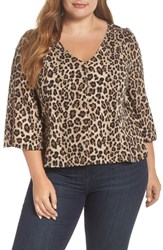 Plus Size Bp. Button Front Print Blouse Beige Hazelnut Panthera