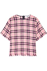 Msgm Fringed Checked Cotton Top Multi