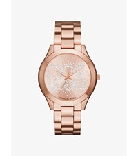 Slim Runway Scatter Logo Rose Gold Tone Watch