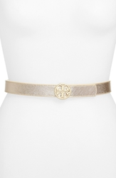 Tory Burch Reversible Metallic Leather Belt Gold Silve