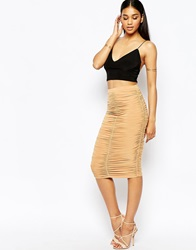 Club L Ruched Midi Skirt Tan