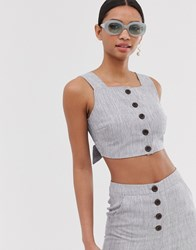 Fashion Union Button Front Crop Top Two Piece Gray