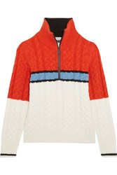 Topshop Sno Color Block Cable Knit Turtleneck Sweater Orange