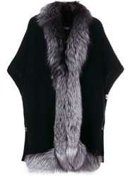 N.Peal Diagonal Fur Trim Cape Black