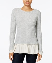 Kensie Warm Touch Ruffled Contrast Sweater Heather Light Grey