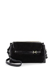 Halston Leather And Suede Crossbody Bag Black